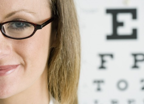 Woman near Eye Chart